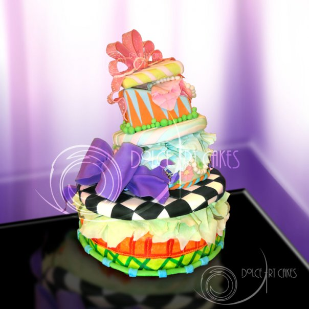 Topsy turvy custom fondant cake by Dolce Art Cakes