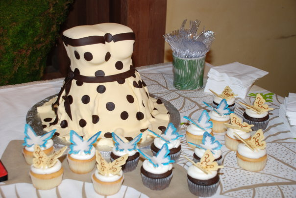 Yellow Polka Dot Dress cake and butterfly  cupcakes by Dolce Art Cakes